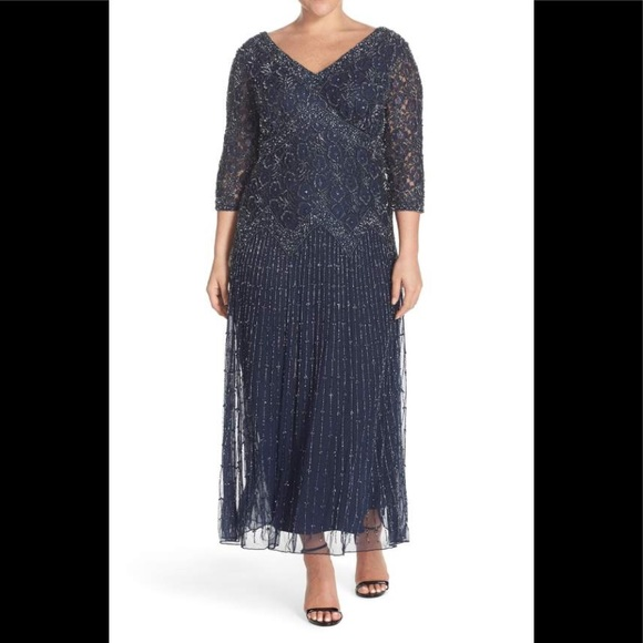 Pisarro Nights Dresses | V Neck Beaded Gown 34 Sleeves | Poshmark